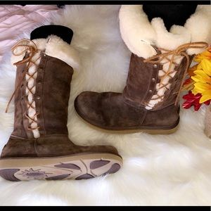 UGG Tall Brown Lace Side Boots